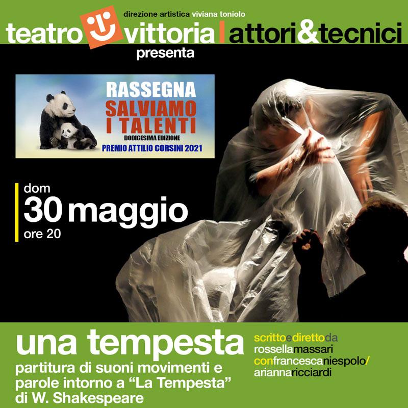 """Una Tempesta Partitura di suoni movimenti e parole intorno a """"La Tempesta"""" di W. Shakespeare al Teatro Vittoria di Roma"""